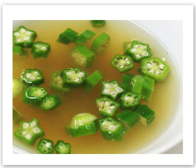 オクラと梅の冷製スープ